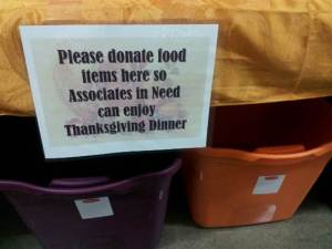 No, this is not a charity asking for donations for the homeless holiday meal. This is a mega-billion dollar corporation asking for donations for its 'poor' employees holiday meal.