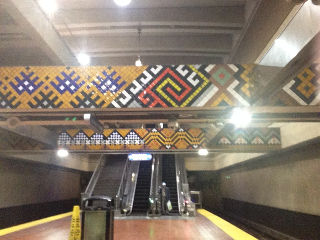 This is a picture taken inside the subway station across the street from Lexington Market.