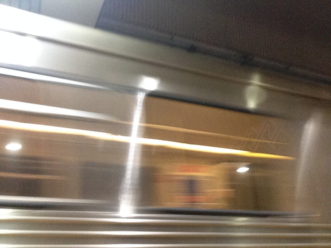 I know it's just a blur, but this is our train coming in as we head to Mondawmin Mall.
